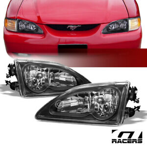 For 1994 1998 Ford Mustang Crystal Black Housing Headlights Headlamps Lamps K2