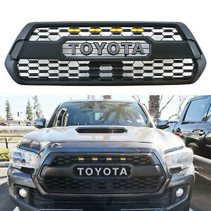 Front Grilles Bumper Hood Black Mesh For 2016 2019 Toyota Tacoma With Amber Led