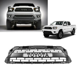 Front Grille Matte Black For 2012 2015 Toyota Tacoma Trd Pro With Logo Letters