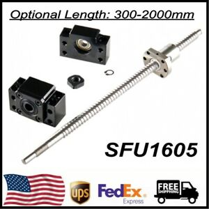 1pcs Ball Screw Sfu1605 Rm1605 End Machined bk12 bf12 End Support 300mm 2000mm