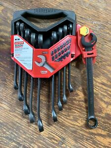 Craftsman Mach Series 10 Pc Open End Ratcheting Sae Metric Wrench Set New