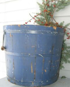 Substantial Antique Staved Wood Bucket W 3 Bands 2 Handles Desirable Blue Paint