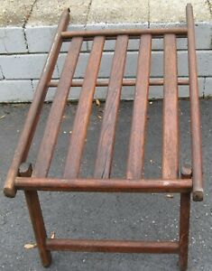 Awesome Antique Wooden Luxury Ship Deck Chair Foot Stool Extender Ottoman