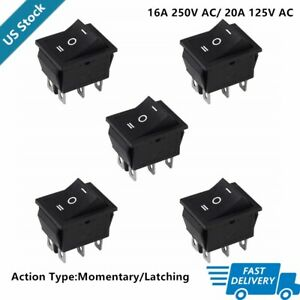 Momentary Rocker Switch Latching Switch On off on 6 Pins 16a 250vac 20a 125vac