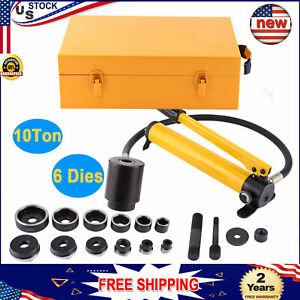 10 Ton 6 Die Hydraulic Knockout Punch Driver Kit Hole Hand Tool 22 To 60mm Usa