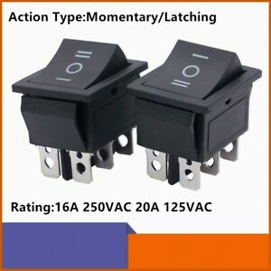 Ac 20a 125v 16a 250v 6 Pins Latching On off on Momentary Rocker Switch Dpdt
