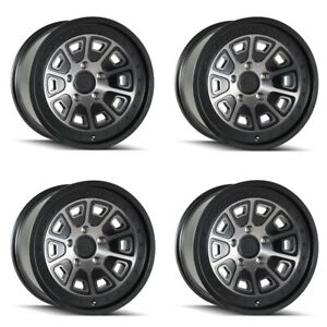 Set 4 17 Mayhem 8301 Flat Iron Black W dark Tint Truck Wheels 17x9 5x5 6mm