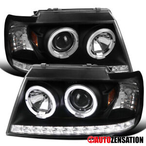For 2002 2005 Ford Explorer Black Halo Rims Projector Headlights Led Drl Strip
