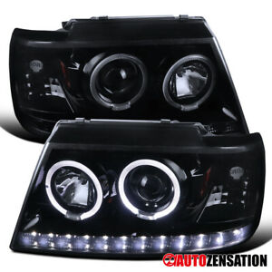 For 2002 2005 Ford Explorer Glossy Black Smoke Led Drl Halo Projector Headlights