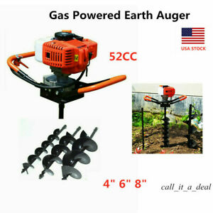 52cc Gas Powered Earth Auger Borer Fence Post Petrol Digger 4 6 8 Bits Usa