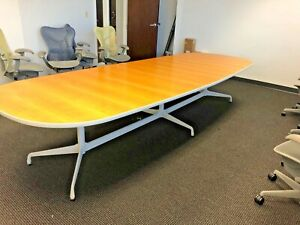 12 w Conference Table By Herman Miller Office Furniture In Light Cherry Finish