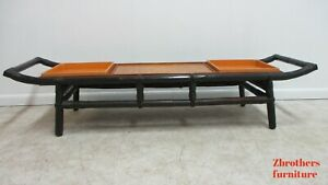 Vintage Long Mid Century Rattan Surfboard Coffee Table Serving Tray Tiki
