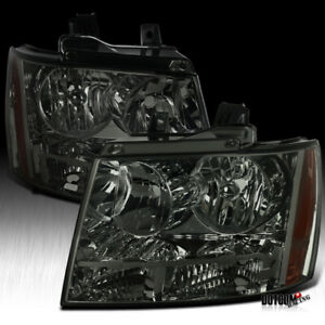 For Chevy 2007 2013 Avalanche 2007 2014 Tahoe Suburban Smoke Tinted Headlights