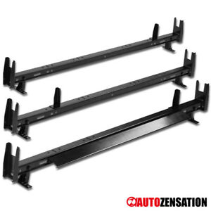 3 Bar Universal Suv Van Black Steel Top Roof Rack Cross Cargo Carrier Ladder