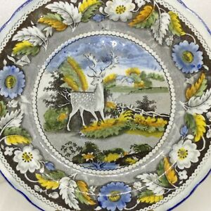 Antique Caughley Salopian Pearlware Stag Plate Transfer Ware 7 25 Inch