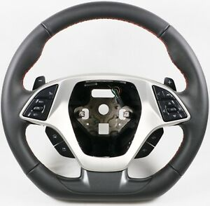 2014 2019 C7 Corvette D Shaped Steering Wheel Automatic Leather Red Stitching