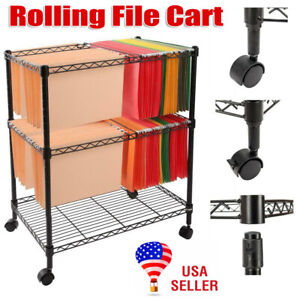 Portable 2 tier Metal Rolling Mobile File Cart For Letter Size Office Supplies