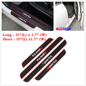 Parts Accessories 4pcs Rubber Car Door Sill Scuff Plate Sticker Protector Trim