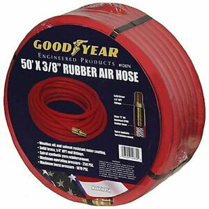Goodyear Air Hose 12674 Red Rubber Air Hose 50 X 3 8 Weather Oil And Solvent Res