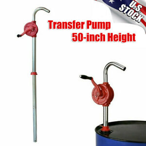 55 Gallon Manual Hand Crank Rotary Pump Oil Fuel Barrel Transfer Suction Drum Us