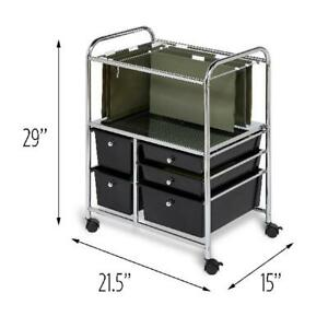 Honey Can Do 5 drawer Hanging File Rolling Cart Chrome black