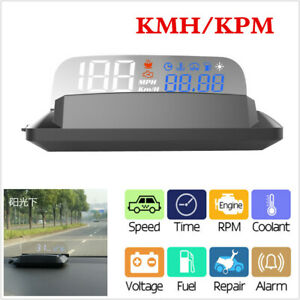Car Hud Head Up Display Over Speed Warning Obd2 Speedometer Projector Kmh Or Kpm