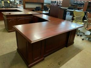 L shape Desk By National Office Furniture Barrington Collection