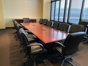 14ft L Conference Table W 14 Chairs Conference Credenza By Steelcase