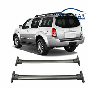 Black Aluminum Front Rear Roof Top Rack Cross Bar Fit 05 12 Nissan Pathfinder