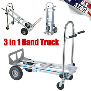3 in 1 Aluminum Hand Truck Portable Folding Dolly Platform Trolley Utility Cart