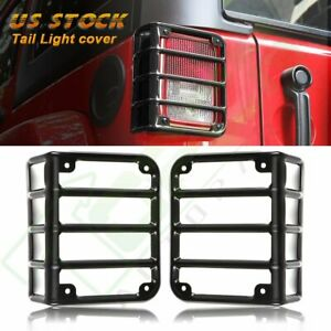 2x Tail Light Guard Cover Rear Lamps Trim Cover For 2007 16 Jeep Wrangler Jk Vip