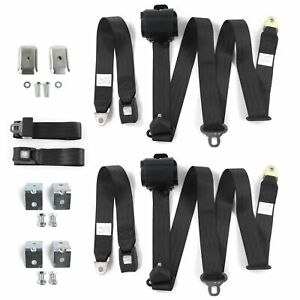 Chevy Nova 1968 1974 Standard 3pt Bk Bench Seat Kit W brackets 3 Belts