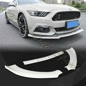 For 2015 2017 Ford Mustang Painted White Front Bumper Body Kit Spoiler Lip 3pcs