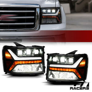 For 2007 2014 Gmc Sierra Blk Full Led Sequential Tube Tri Projector Headlights