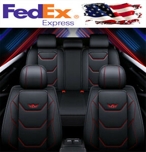 Luxury 5 seats Car Seat Covers Black Red Pu Leather Interior Full Set Universal
