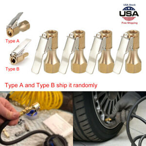 4pack Open Flow Straight Lock On Air Chuck With Clip For Tire Inflator Car Tools