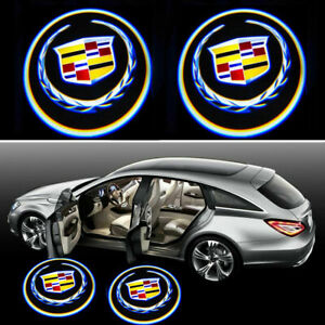 2pcs For Cadillac Universal Wireless Led Door Courtesy Laser Shadow Light