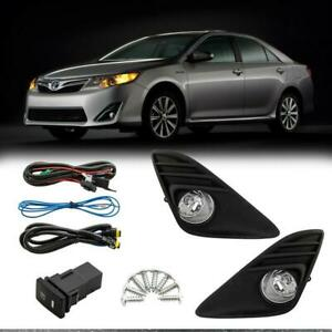 For 2012 2014 Toyota Camry Clear Lens Fog Lights wiring switch Left right