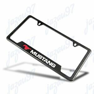 For New Mustang Carbon Fiber Look License Plate Frame Abs X1