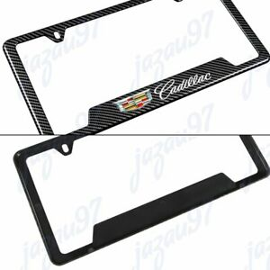 X1 New For Cadillac Carbon Fiber Look License Plate Frame Abs