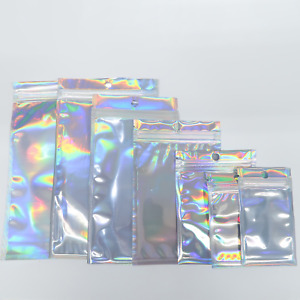200 Silver Holographic Ziplock Mylar Bags For Clay Face Mask Powder Products