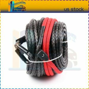 20500lb 3 8 X 95ft Synthetic Tow Rope Line Winch Recovery Cable High Tensile
