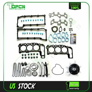 Engine Timing Chain Kit Head Gasket Set Water Pump For 02 03 Dodge Ram 1500 3 7l