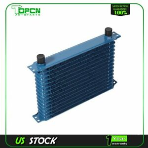 15 Row An 10an Universal Aluminum Engine Transmission Oil Cooler Blue