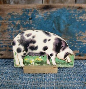 Antique Cardboard Farm Animal Wood Stand Spotted Poland China Pig Free Shippi