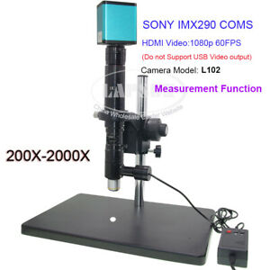 200x 2000x Zoom Industry Microscope Set Coaxial Light Lens 14mp sony Chip Camera