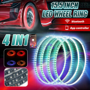 4in1 15 5 Car Rgb Led Wheel Ring Rim Strip Lights Bluetooth App Control Dc12v