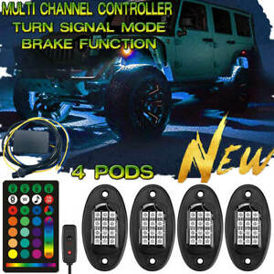 4 Pod Neon Led Rock Light Upgrade Control Underglow For Offroad Car Truck Boat