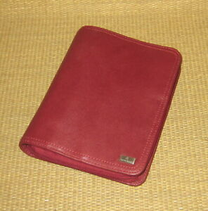 Compact Franklin Covey Red Unstructured Leather 1 25 Rings Zip Planner binder