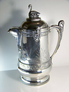 Reed Barton Silverplate Aesthetic Ice Water Pitcher W Swan Finial Antique